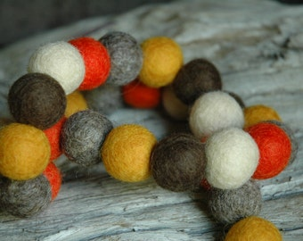 Harvest Felt Ball  - 2cm 50ct Felt Ball Garland or Loose Pack - Pom Pom - FREE SHIPPING USA | Bunting