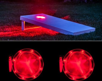 SALE - TRU Color Cornhole Corn Hole Baggo Bean Bag Board Light SET Cornhole Led Light Rings Bright 10 Leds - 2 light rings