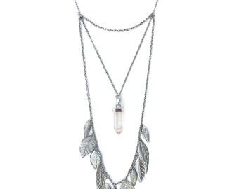 Silver Leaf and Quartz Crystal Necklace