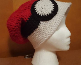Pokémon Pokeball handmade crochet slouchy hat adult