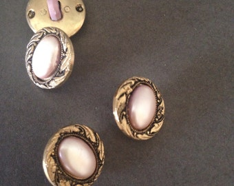 Gold cream buttons-set of four sewing materials-retro buttons
