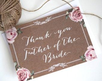 Vintage Kraft Wedding Bride & Grooms Parent Thank You Cards