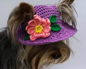 Hat for dog Water Lily / Summer Dog Hat / Dog Easter Hat / Flower Dog Hat/ Purple dog hat / Crocheted dog hats / Dog Beanie / Pet Photo Prop