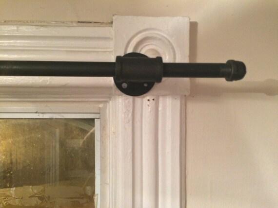 industrial pipe curtain rod medium length 48. Black Bedroom Furniture Sets. Home Design Ideas