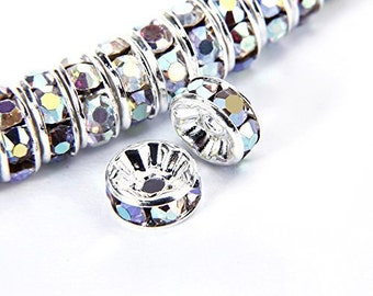 100 pcs Silver Plated Crystal Rondelle Spacer Beads for jewelery making