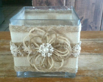 Burlap and Lace Glass Votive Holder