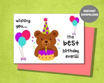 Happy Birthday Greeting Card Set - Birthday Bear
