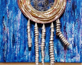 """Mixed Media Painting """"Dream Catcher"""", Blue Purple Silver, Metal, """"Jellyfish"""", Original Art, Home Decor, Wall Art, OOAK Painting, Abstract"""