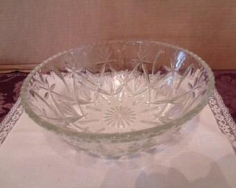 Vintage Clear Glass Large Bowl