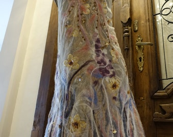 nuno felted dress, unique , hand- made dress, natural, artistic, floral , nuno felted