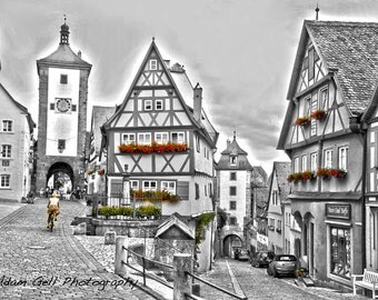 Rothenburg ob der Tauber Photo, Germany Photograph ,Romantic streets, Medieval, Fachwerk haus, cobblestone streets,Black and White