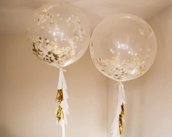 """Beautiful 36"""" Clear Balloons with White & Gold Confetti and Tassels!"""