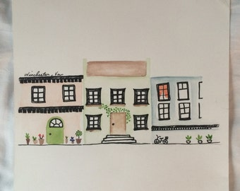 Whimsical Town Watercolor