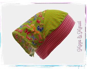 Headscarf points butterflies orange green colored 49-59