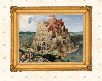 The Tower of Babel by Pieter Bruegel the Elder, 1563.  Netherlandish Renaissance, Famous Painting Copy, Art Print, Highly Detailed Print