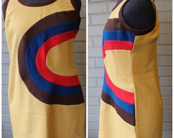 20% Off Entire Shop - Vintage 1990s Mod Throwback Mini Shift Dress - Size Medium, Large