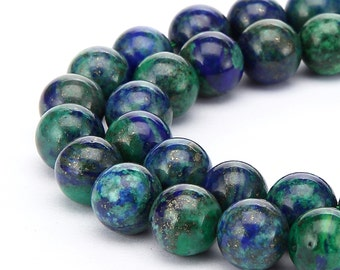 Chrysocolla Smooth Round Loose Beads 15.5'' Long Per Strand. Size: 4mm/6mm/8mm/10mm/12mm.R-S-CHR-0102