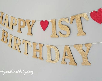 Happy 1st Birthday Custom Banner from Gold Glitter Felt Fabric - First Birthday banners, Personalise bunting flag, birthday banners,boy girl