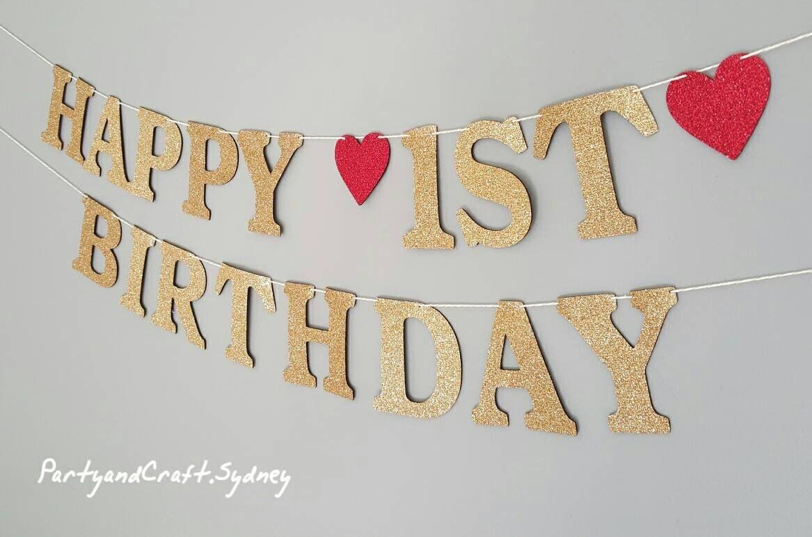 happy 1st birthday custom banner from gold glitter felt fabric