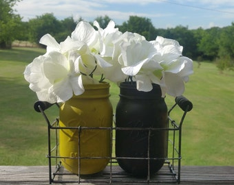 Chartreuse and Espresso Mason Jar Set, Mason Jar Basket