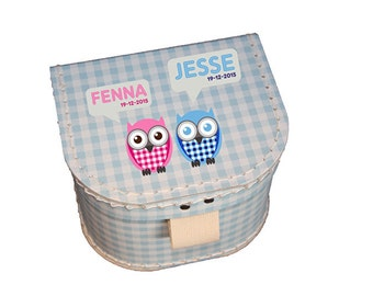 Giftbox with name and birthdate - Twin owl 2
