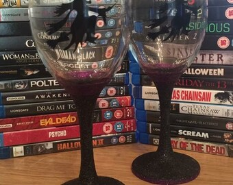AllAboutEveGifts A pair of handmade Halloween glitter wine glasses with black vinyl witches