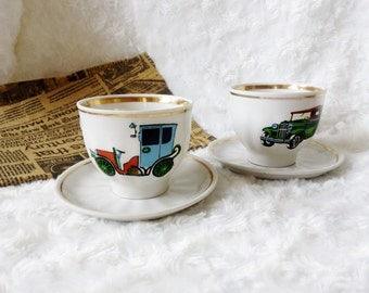 Vintage Kitchen decor table coffee Cup tea party Mom gift for mother Set tea cup  and saucer cup with car Vintage cup Espresso cup