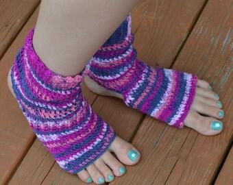 Berry Colored Crocheted Yoga/Pilates/Dance/Pedicure/Flip Flop Socks (AVERAGE SIZE)