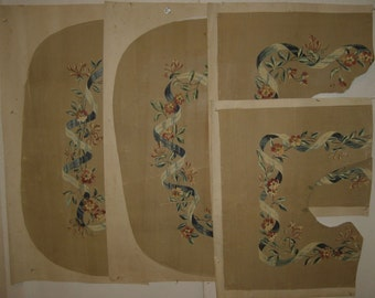 Antique Set of 4 Beautiful 19th C. French Gouache Paintings for Aubusson (8934)