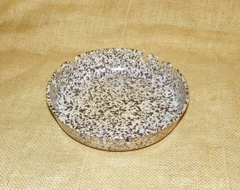 "Confetti Spackle Ashtray featuring a Speckled Pattern, Beige, Brown, Mauve, Black Speckled 7 1/2"" Wide Ashtray"