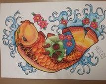 Rainbow Koi Fish Tattoo Flash, Tattoo Design,Print, Skull, Cherry Blossom, Bright Japanese Tattoo Style Koi Fish And Skull Design