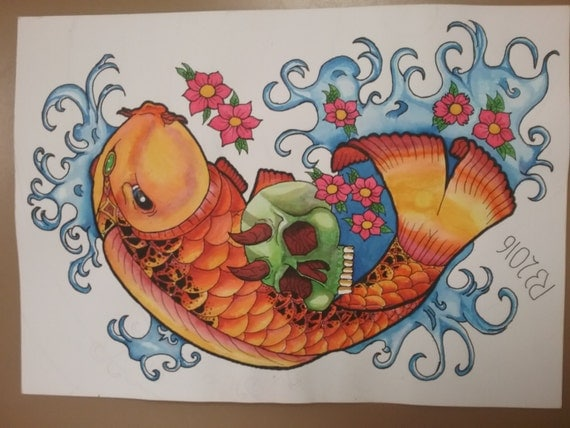 Rainbow koi fish tattoo flash tattoo by tattooflashstore for Rainbow koi fish