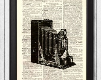 Antique Bellows Camera Dictionary Art, Upcycled Book Art, Wall Decor, Print, Mixed Media