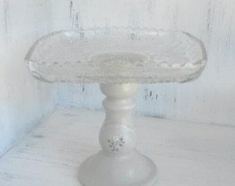 Square glass pedestal