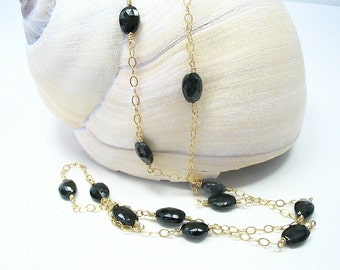 Black Spinel Long Necklace, Station Necklace, Black Gemstone Necklace, Spinel Jewelry, Gold Black Spinel, Layering Necklace, 14K Gold Filled