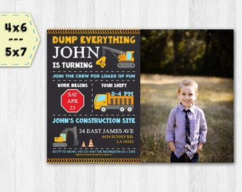 Construction photo invitation - Construction chalkboard invitation - Digger photo invitation - Dump Truck Party