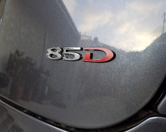 "Tesla Motors Model S Emblem ""D"" Vinyl Decal Sticker - Matte Red"