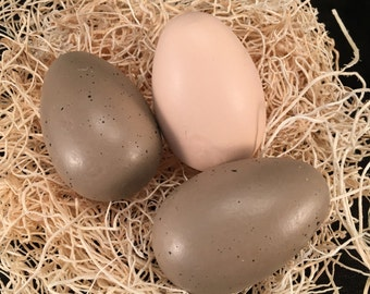 3 Fake Eggs Hand Painted, Wood Egg Decorative Home Decor, Item #467731197