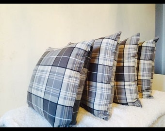 Grey and white tartan cushions