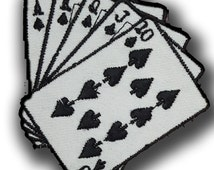 617 Casino Poker Ace of Spades Full House  cards game ,EMBROIDERED Iron on/Sew on PATCH