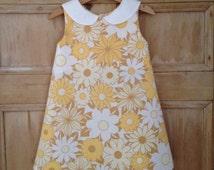 Girl's dress, vintage fabric girl's dress, toddler dress, retro girl's dress, girl's floral dress, handmade girl's dress, vintage girl dress