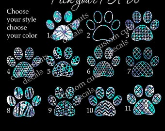 pet decal, dog paw decal, paw decal,  lilly inspired, iPhone decal, yeti decal, tumbler decal, car window decal