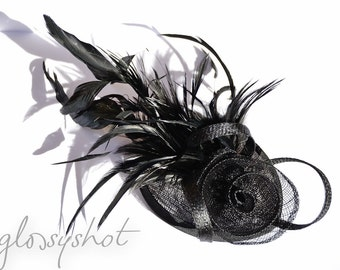 Beautiful Black Sinamay Headpiece With Removeable Hairband
