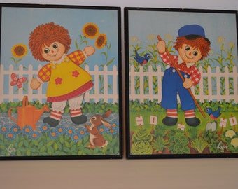 Vintage Raggedy Ann and Andy Wall Hangings, 1970's