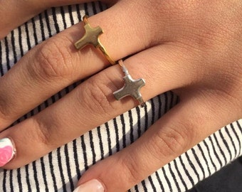 Silver cross ring, Tiny cross ring, Crucifix ring, Knuckle ring, stackable ring, gold ring, minimal jewelry
