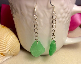 Sea Glass earrings,ocean tumbled, mermaid tears, beach
