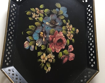 Vintage Hand Painted Metal Tray