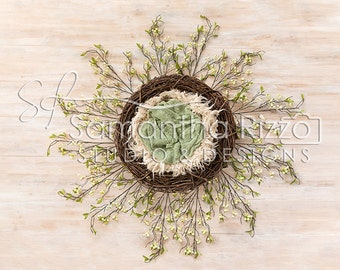 Newborn Photography Digital Background - Spring Green Wreath