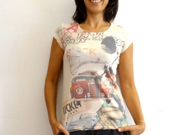 Womens Pinup t-shirt super soft cotton all over print classic automoibile print tee size M Medium US 8 Vintage