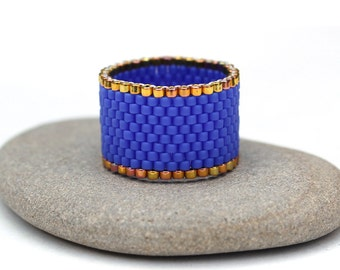 Wide blue ring Seed bead ring Blue beaded ring Beaded band ring Minimalist ring Stylish ring Unusual ring Everyday ring Middle finger ring